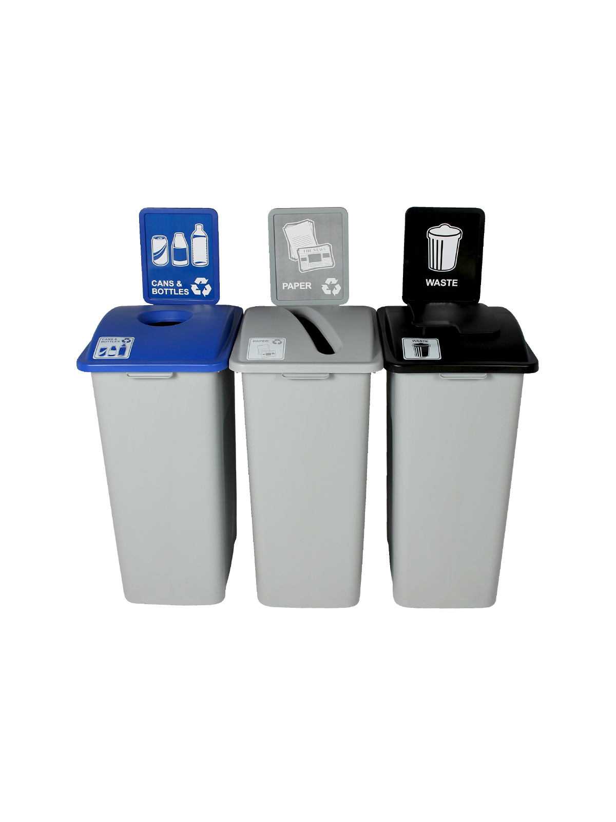WASTE WATCHER XL - Triple - Cans & Bottles-Paper-Waste - Circle-Slot-Solid Lift - Grey-Blue-Grey-Black