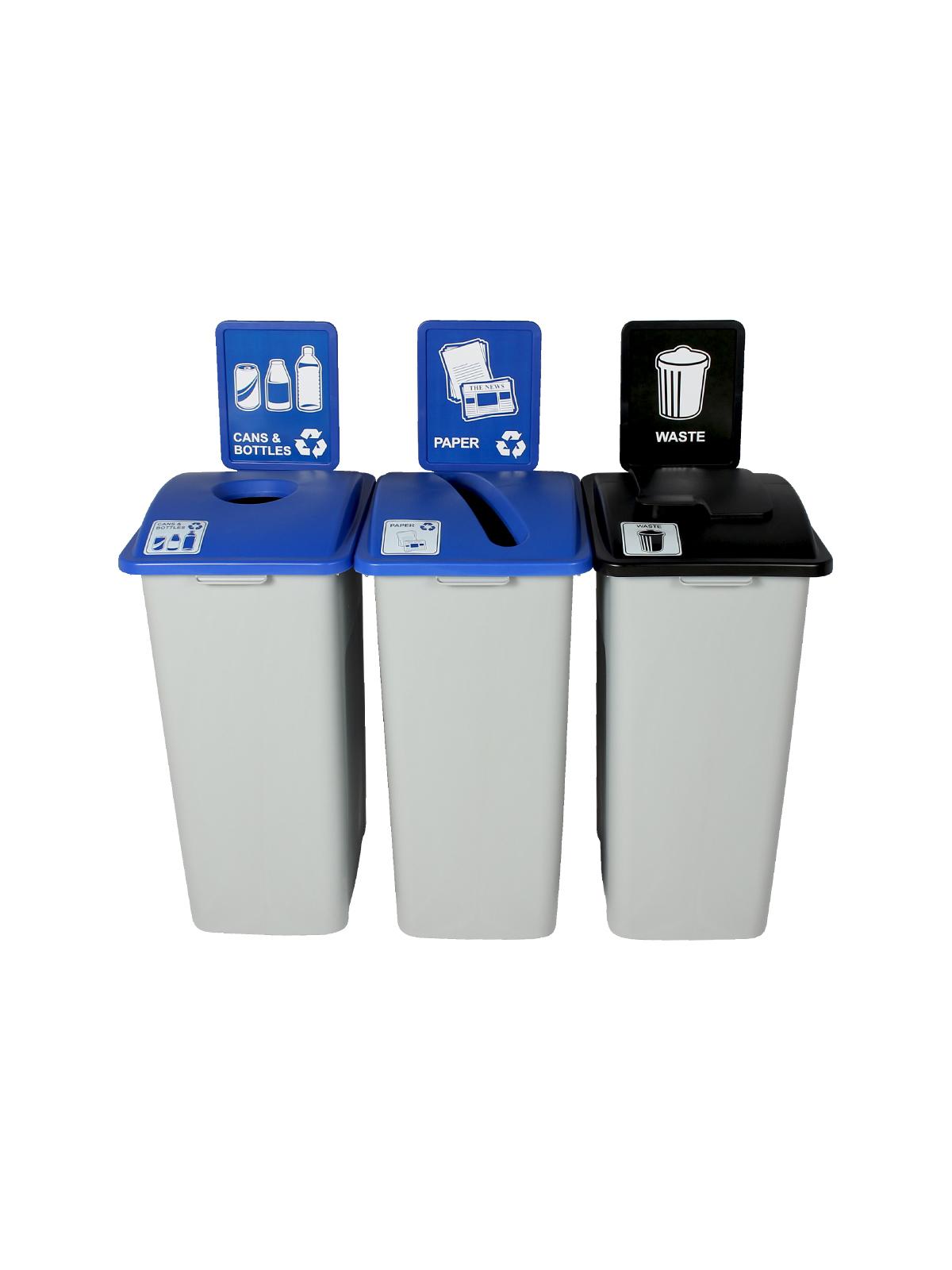 WASTE WATCHER XL - Triple - Cans & Bottles-Paper-Waste - Circle-Slot-Solid Lift - Grey-Blue-Blue-Black