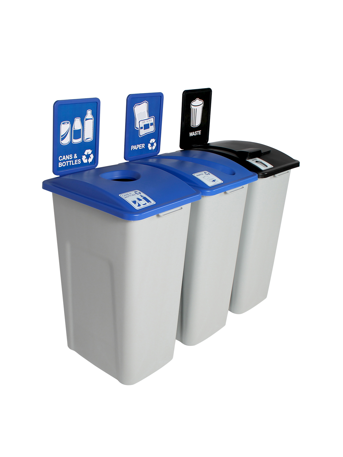 WASTE WATCHER XL - Triple - Cans & Bottles-Paper-Waste - Circle-Slot-Solid Lift - Grey-Blue-Blue-Black
