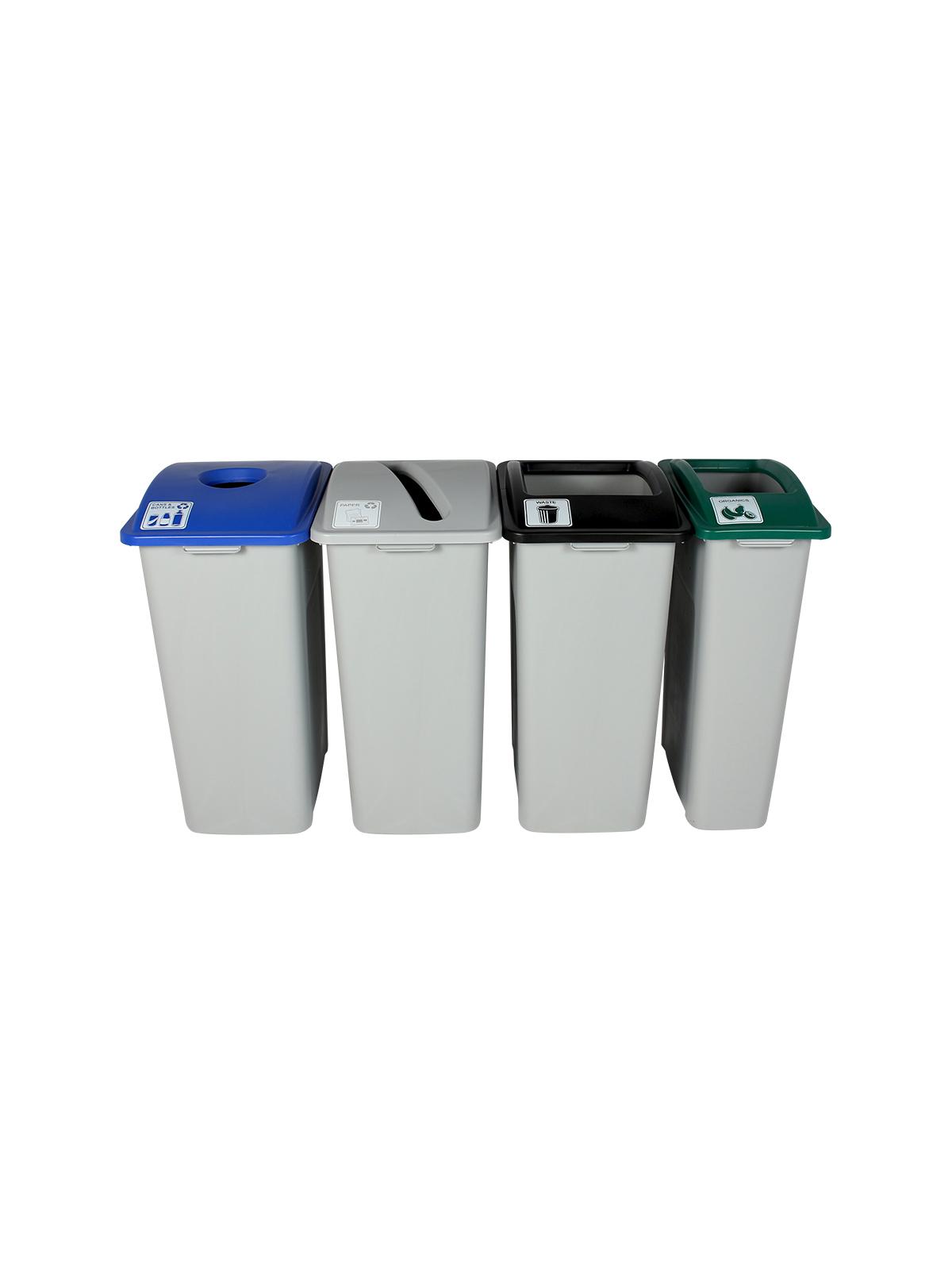 WASTE WATCHER XL - Quad - Cans & Bottles-Paper-Organics-Waste - Circle-Slot-Full - Grey-Blue-Grey-Green-Black