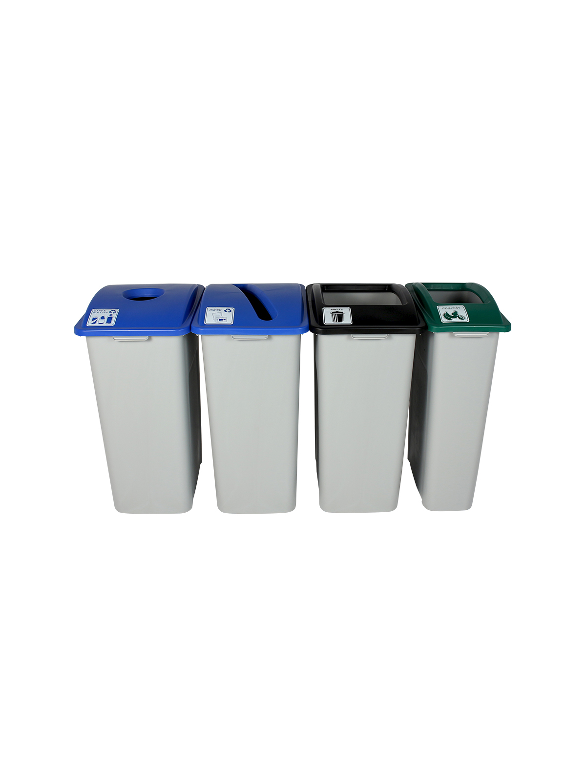 WASTE WATCHER XL - Quad - Cans & Bottles-Paper-Compost-Waste - Circle-Slot-Full - Grey-Blue-Blue-Green-Black