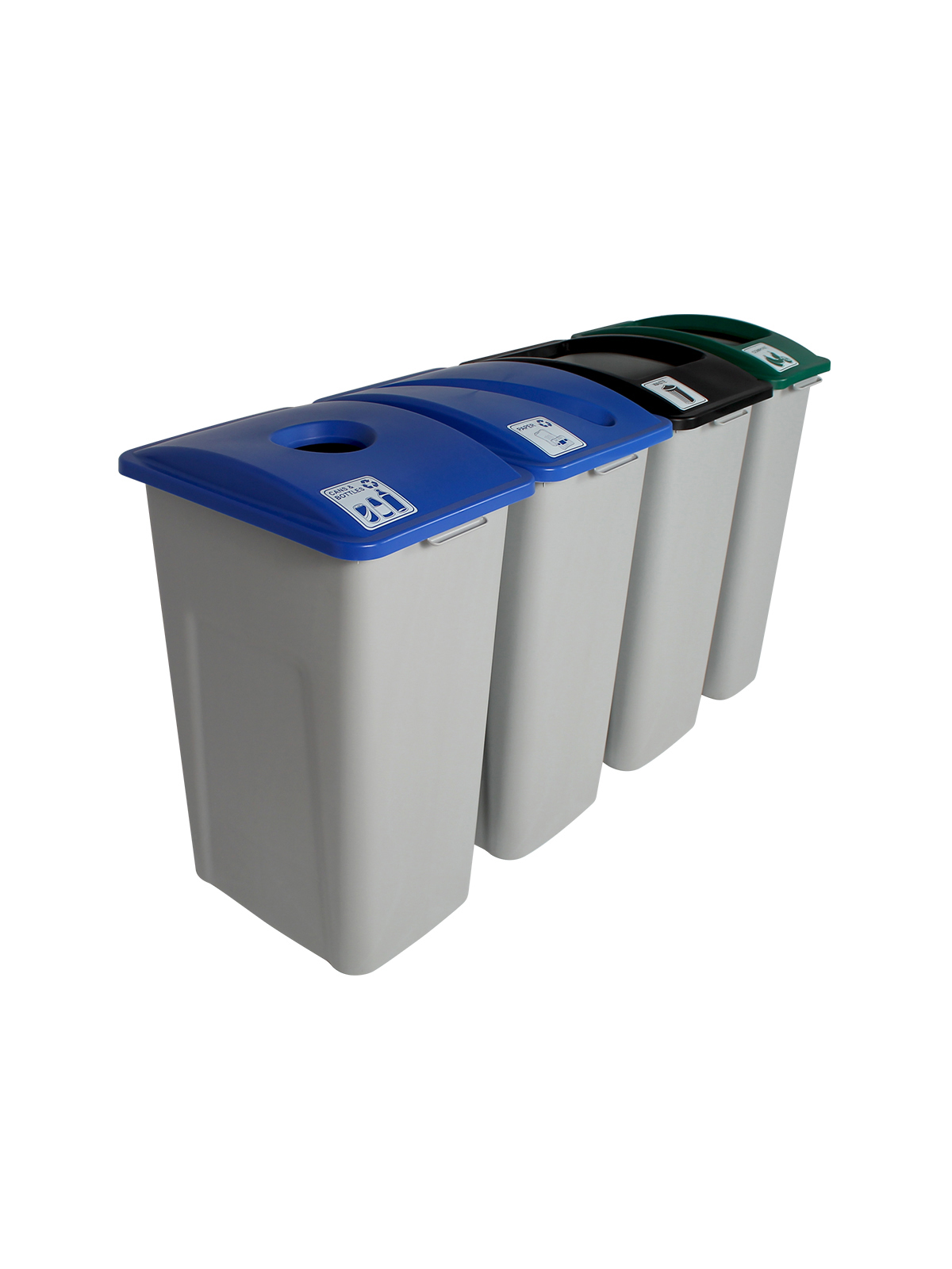 WASTE WATCHER XL - Quad - Cans & Bottles-Paper-Compost-Waste - Circle-Slot-Full - Grey-Blue-Blue-Green-Black