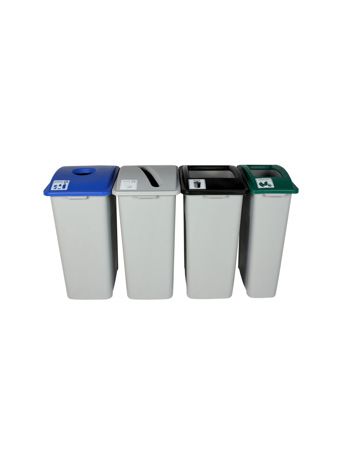 WASTE WATCHER XL - Quad - Cans & Bottles-Paper-Compost-Waste - Circle-Slot-Full - Grey-Blue-Grey-Green-Black