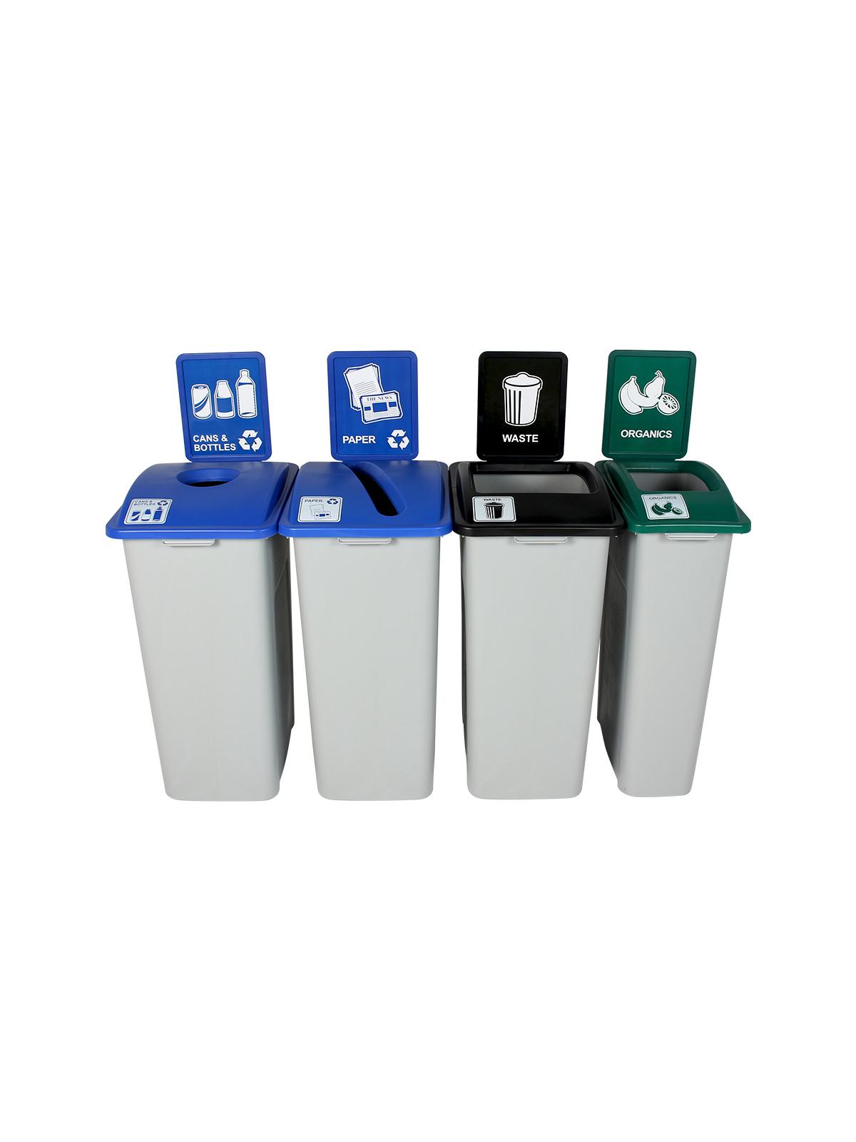 WASTE WATCHER XL - Quad - Cans & Bottles-Paper-Organics-Waste - Circle-Slot-Full - Grey-Blue-Blue-Green-Black