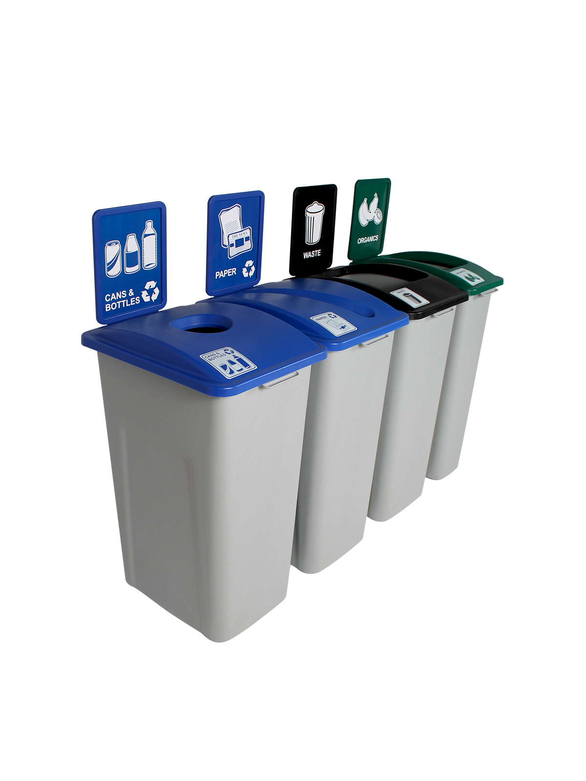 WASTE WATCHER XL - Quad - Cans & Bottles-Paper-Organics-Waste - Circle-Slot-Full - Grey-Blue-Blue-Green-Black