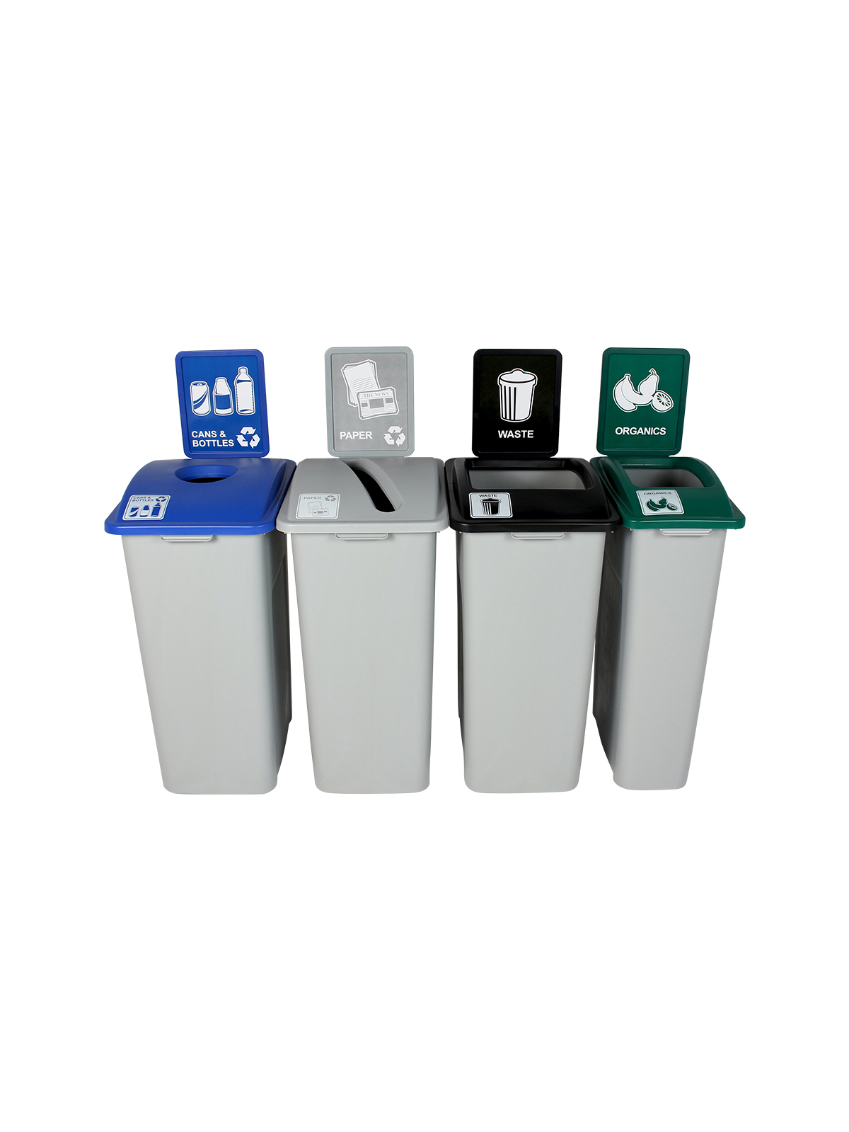 WASTE WATCHER XL - Quad - Cans & Bottles-Paper-Organics-Waste - Circle-Slot-Full - Grey-Blue-Grey-Green-Black