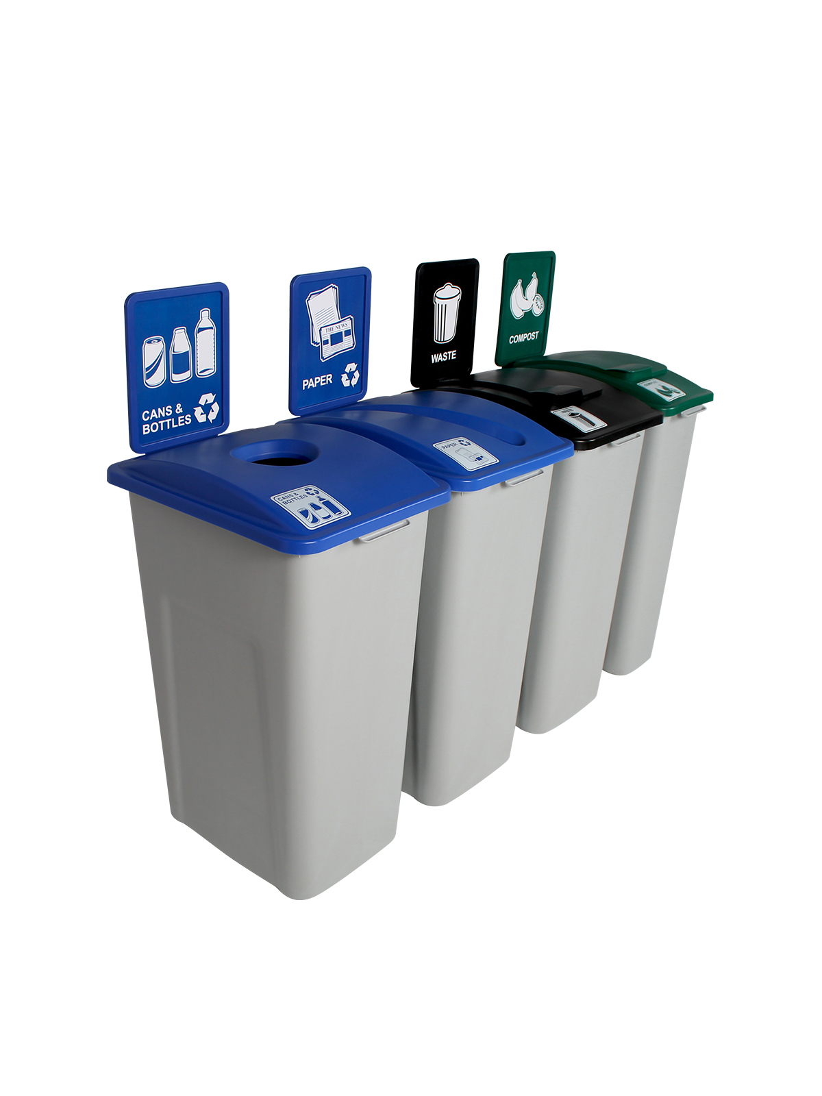 WASTE WATCHER XL - Quad - Cans & Bottles-Paper-Compost-Waste - Circle-Slot-Solid Lift-Solid Lift - Grey-Blue-Blue-Green-Black