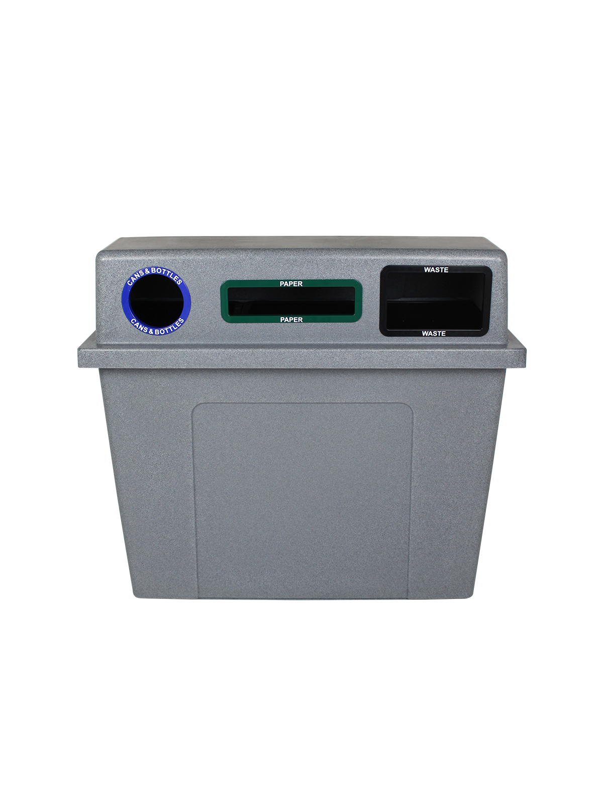 SUPER SORTER - 3-IN-1 - CIRCLE | SLOT | FULL - GREYSTONE - CANS & BOTTLES | PAPER | WASTE title=