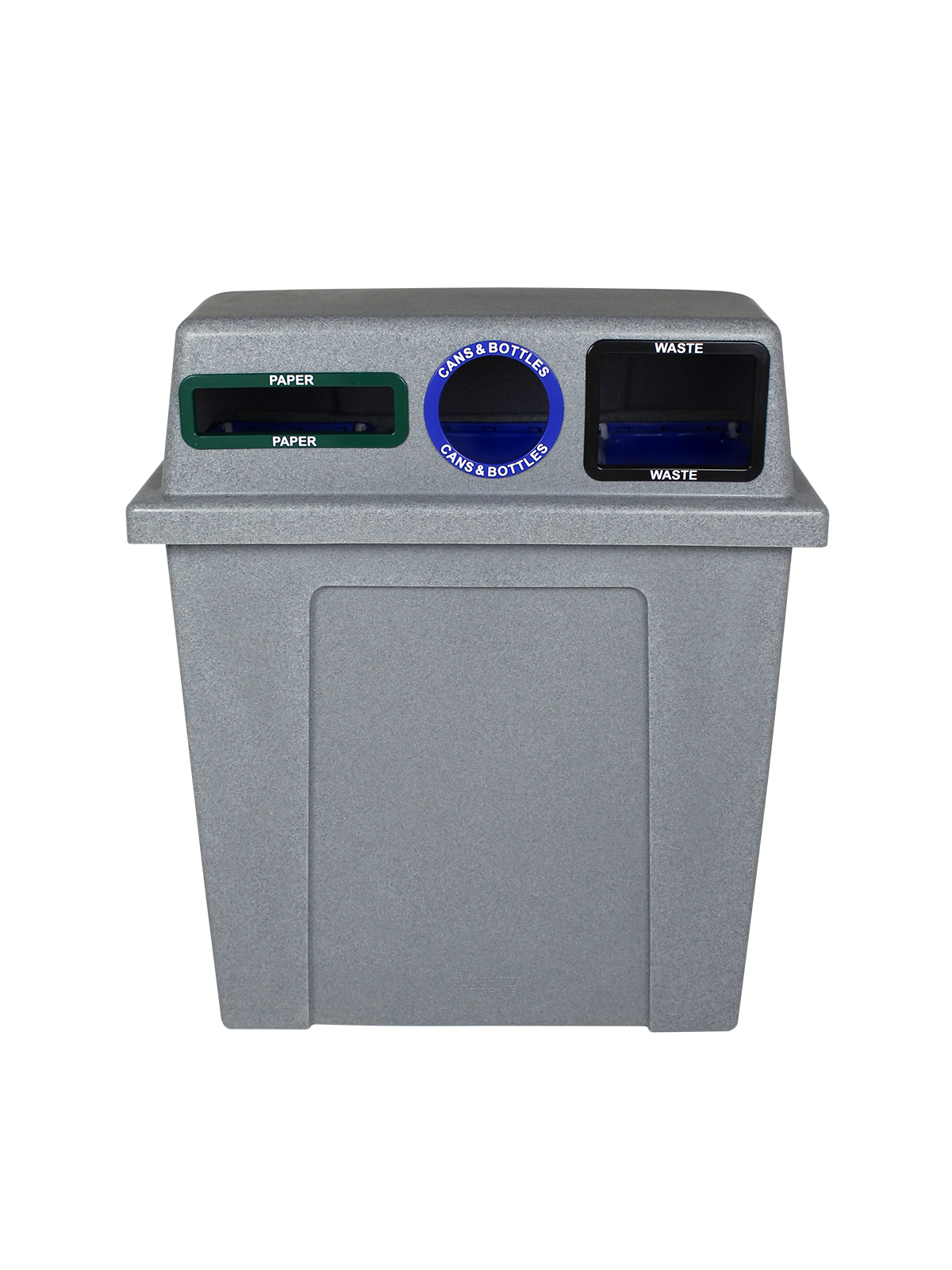 SUPER SORTER - Triple - Hd - Paper-Cans & Bottles-Waste - Slot-Circle-Full - Greystone