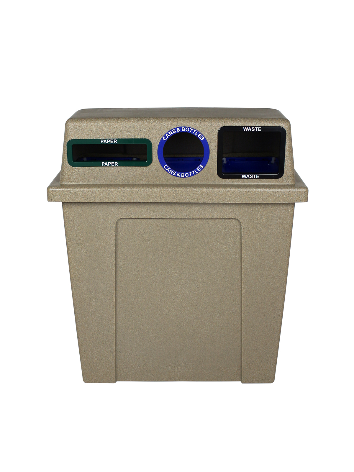 SUPER SORTER - 3-IN-1 HIGH DENSITY - SLOT | CIRCLE | FULL - SANDSTONE - CANS & BOTTLES | PAPER | WASTE title=