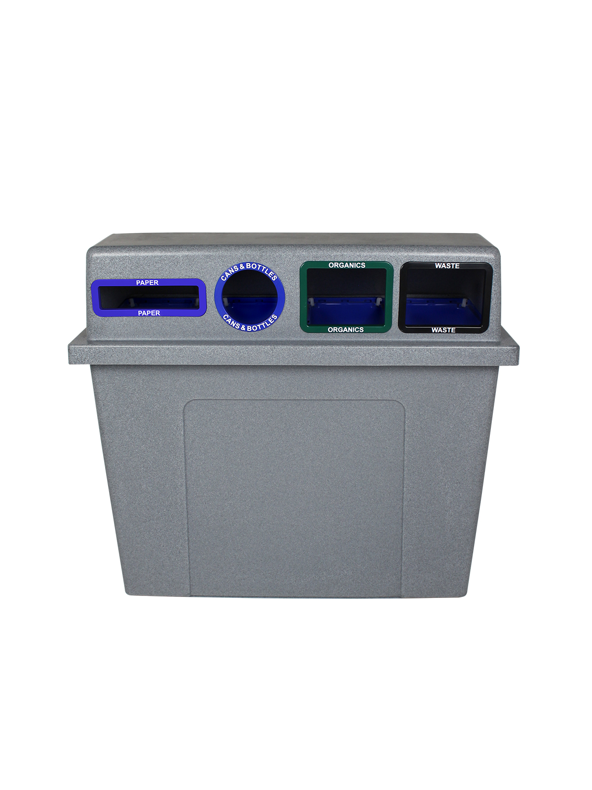 SUPER SORTER - Quad - Hd - Paper-Cans & Bottles-Organics-Waste - Slot-Circle-Full-Full - Greystone-Blue-Blue-Green-Black