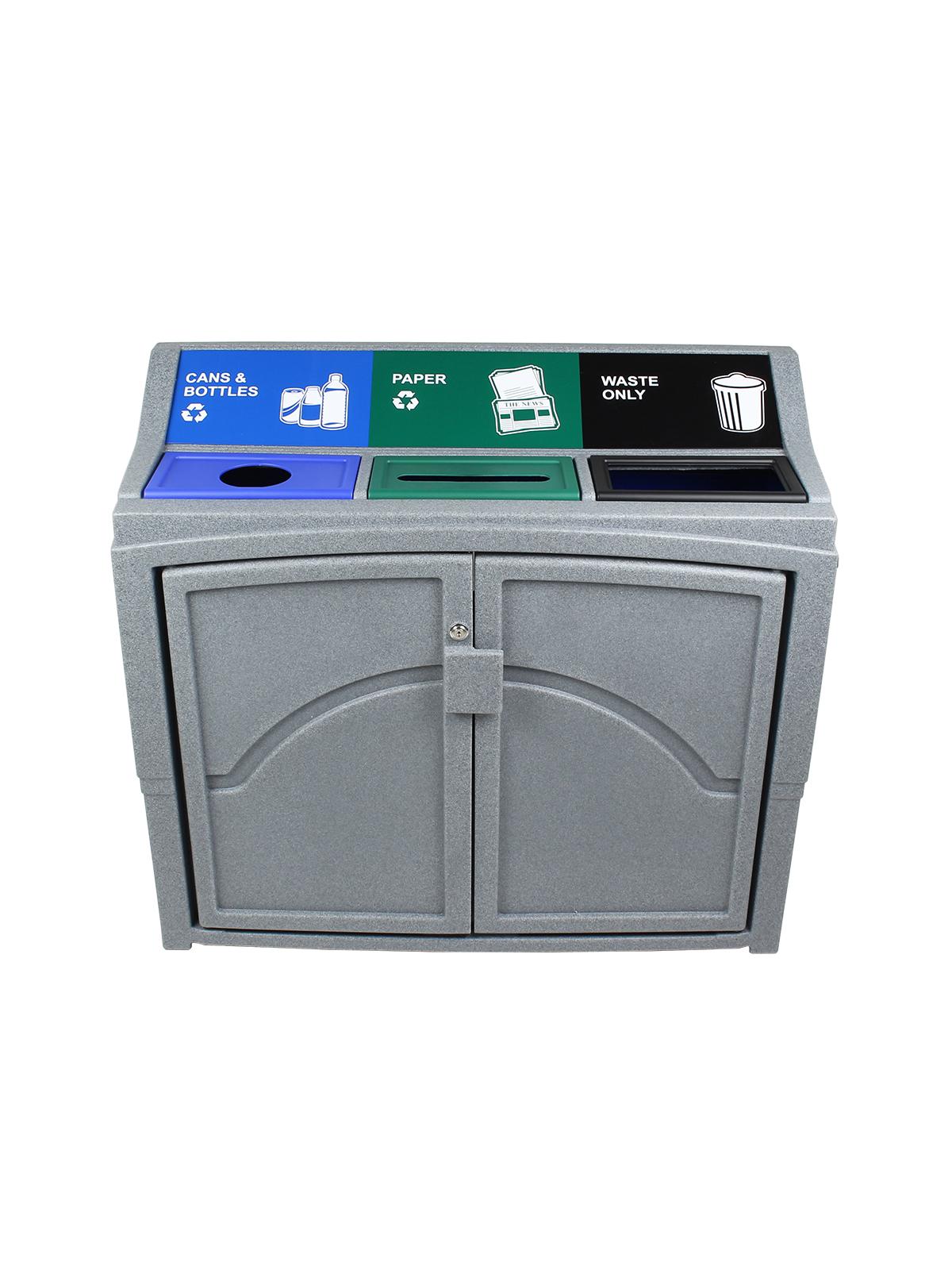 PAVILION - Triple - Cans & Bottles-Paper-Waste - Circle-Slot-Full - Greystone