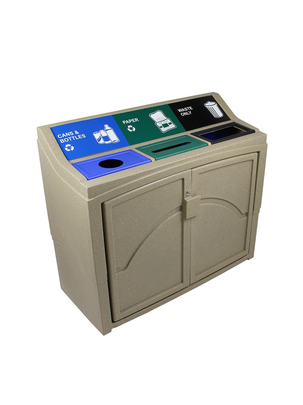 PAVILION - Triple - Cans & Bottles-Paper-Waste - Circle-Slot-Full - Sandstone