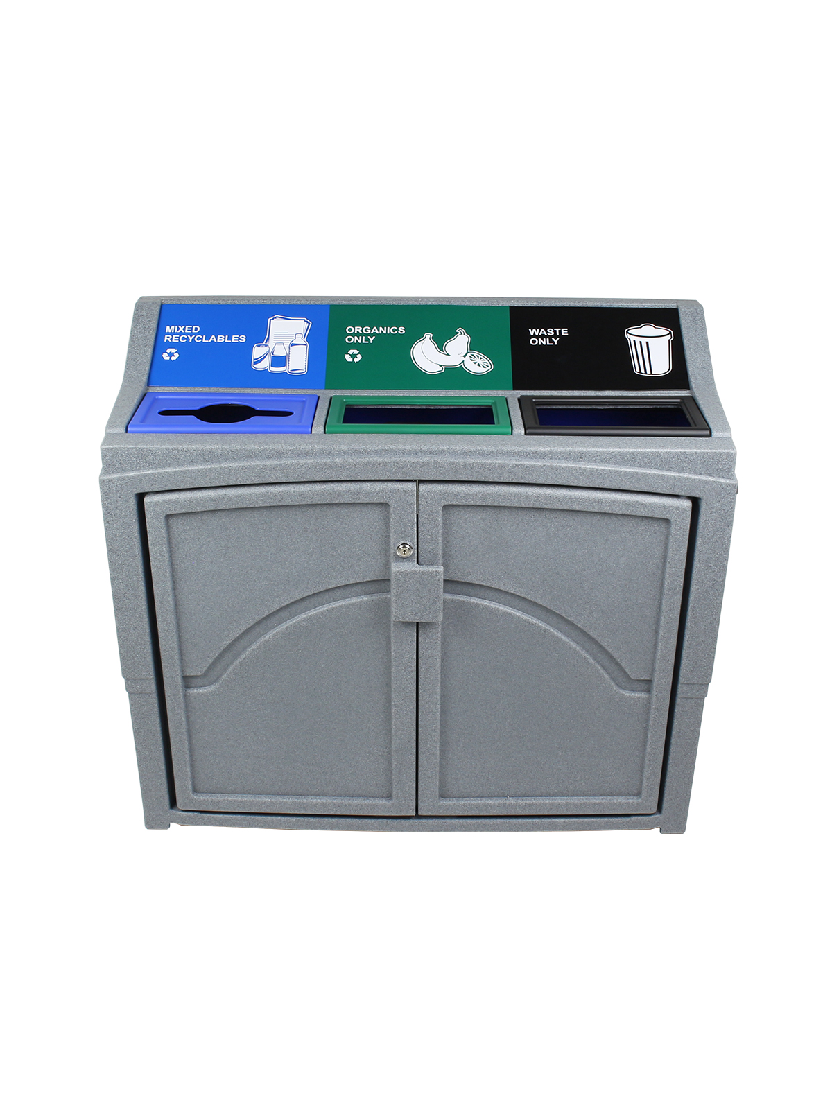 PAVILION - Triple - Mixed Recyclables-Organics-Waste - Mixed-Full - Greystone