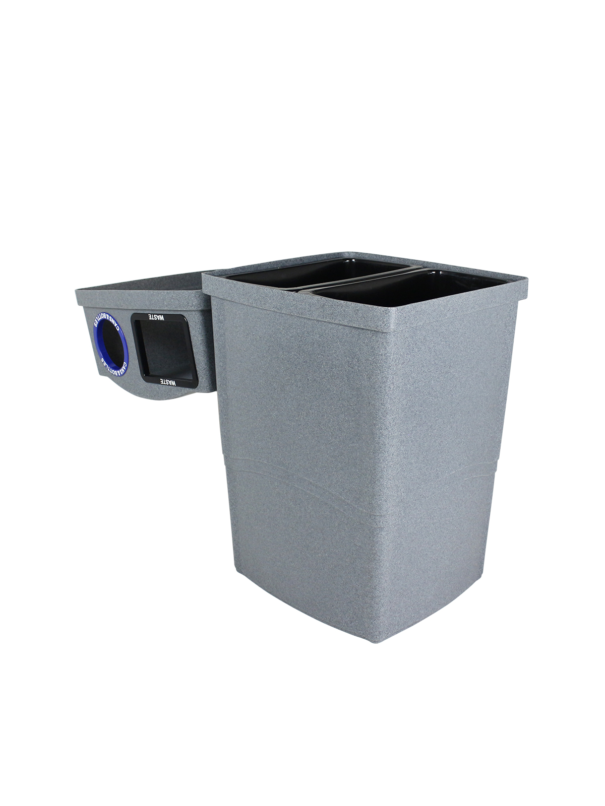 WAVE - Double - Indoor - Waste - Cans & Bottles - Full-Circle - Greystone