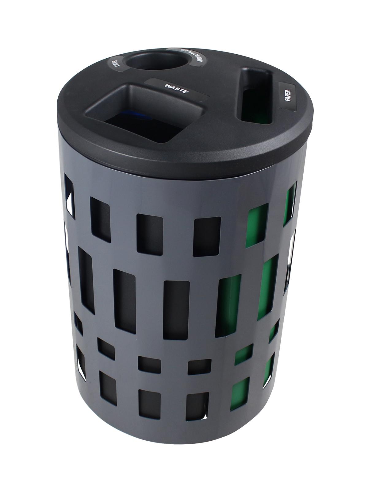 VANCOUVER - Triple - Cans & Bottles-Paper-Waste - Circle-Slot-Full - Dark Grey-Black-Blue-Green
