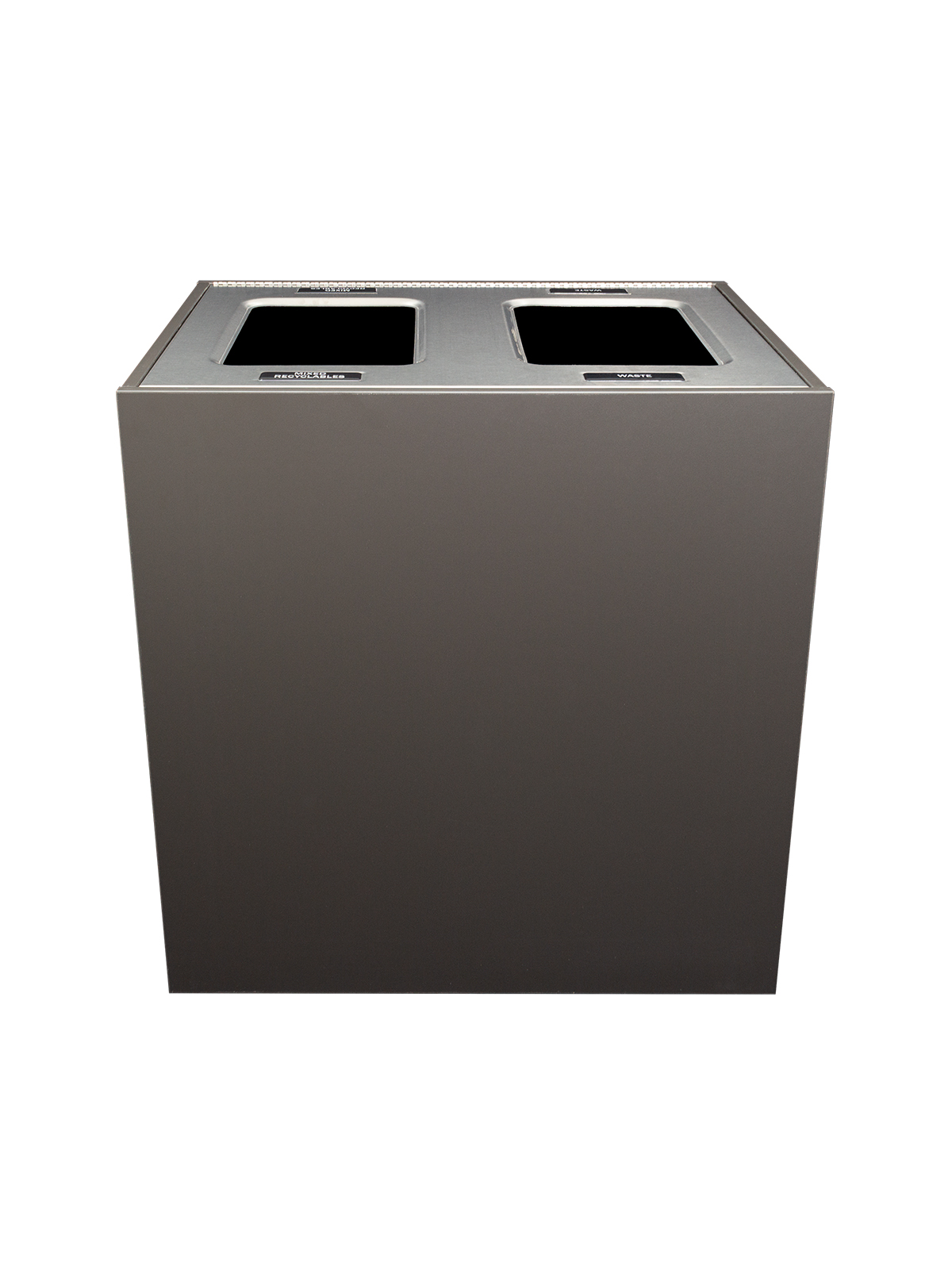 ARISTATA - Double - Unit - Xl - Mixed Recyclables-Waste - Full - Slate-Stainless Steel