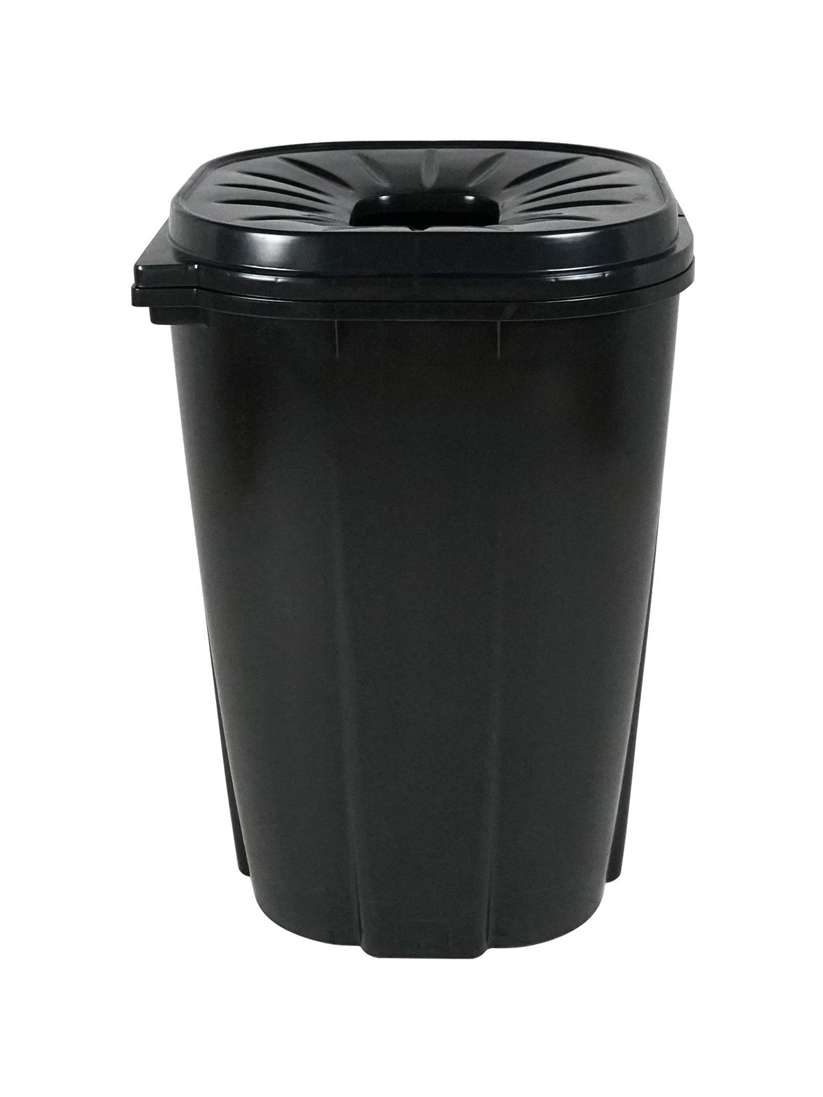 55 GALLON - Single - Unit - Waste Bin - Circle - Black