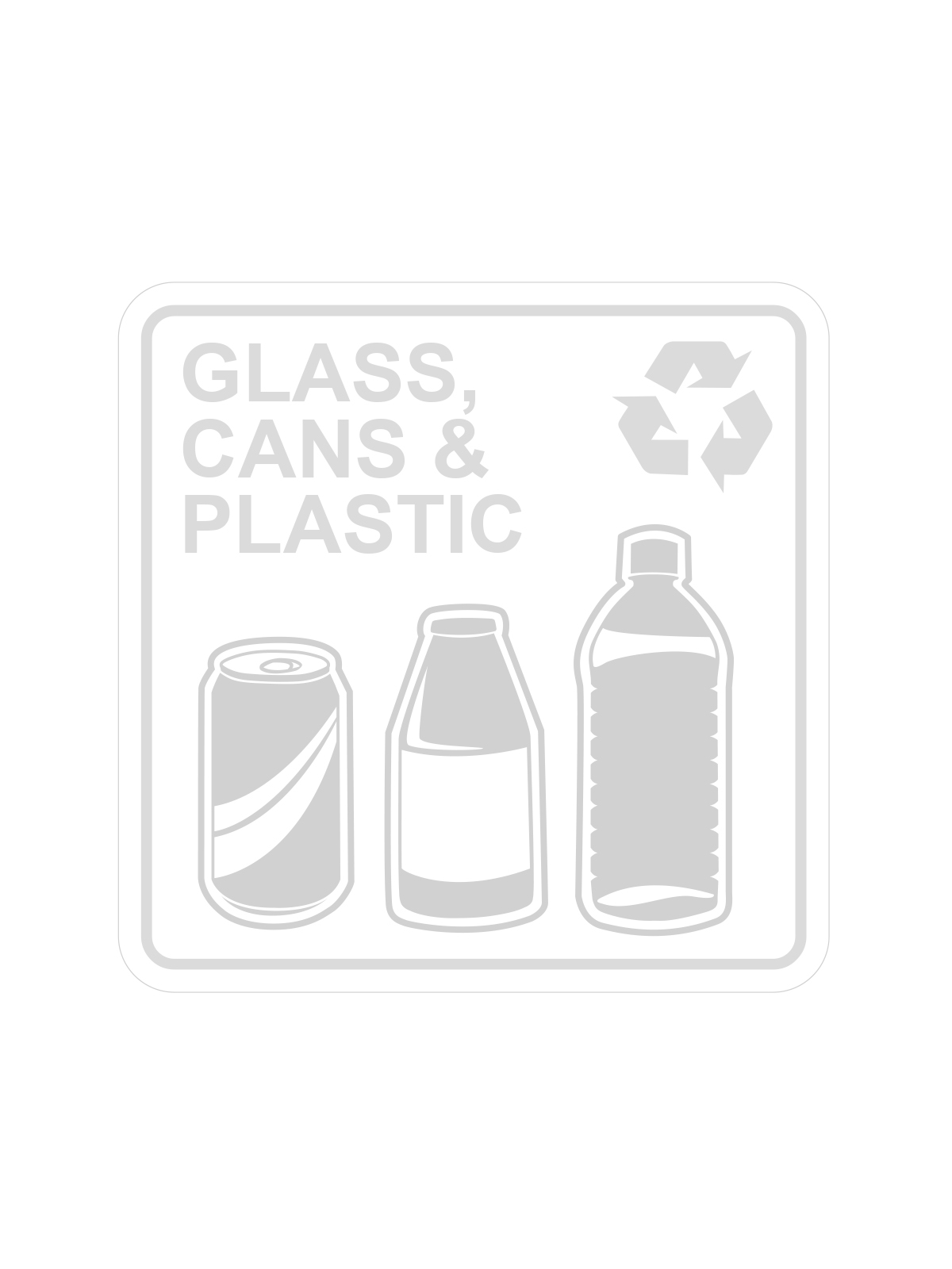 SQUARE LABEL GLASS, CANS & PLASTIC ONLY title=