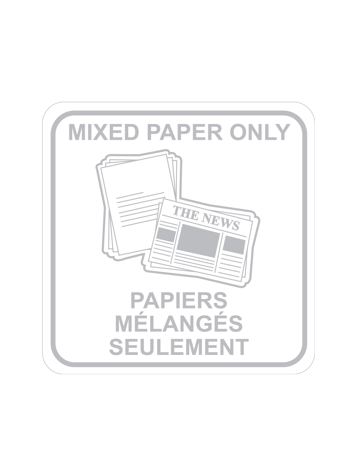 SQUARE LABEL MIXED PAPER ONLY - ENG/FRE