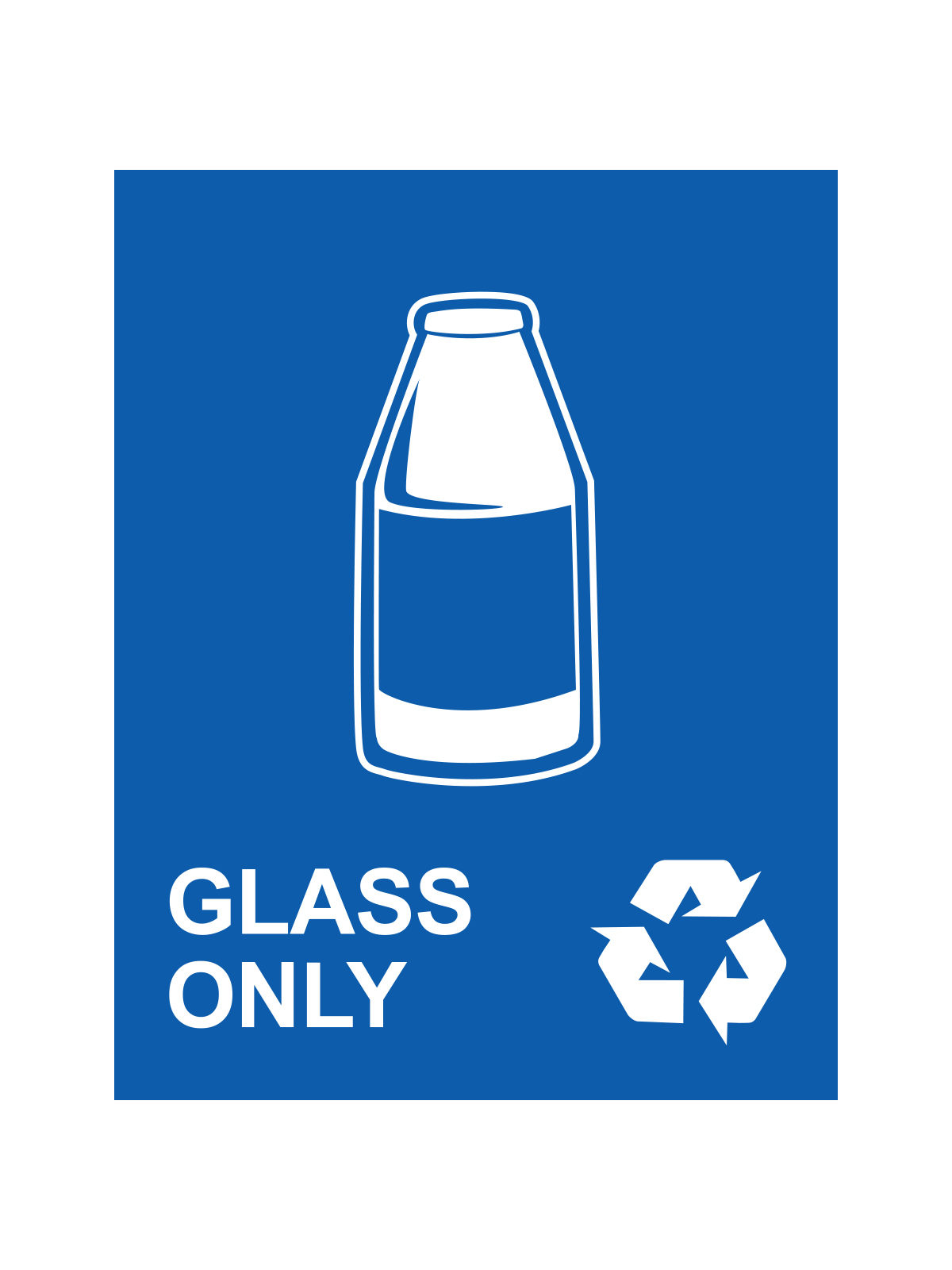 WASTE WATCHER® SIGN - GLASS ONLY W/GLASS LOGO & MOBIUS LOOP title=