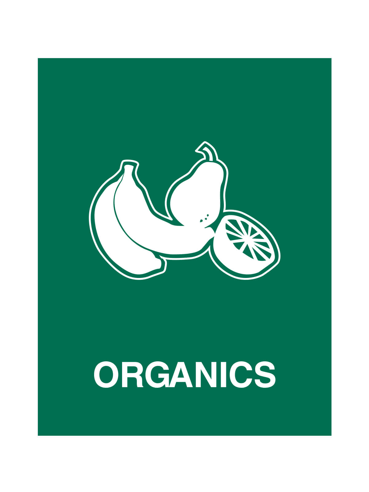 WASTE WATCHER® SIGN - ORGANICS ONLY W/FRUIT LOGO title=