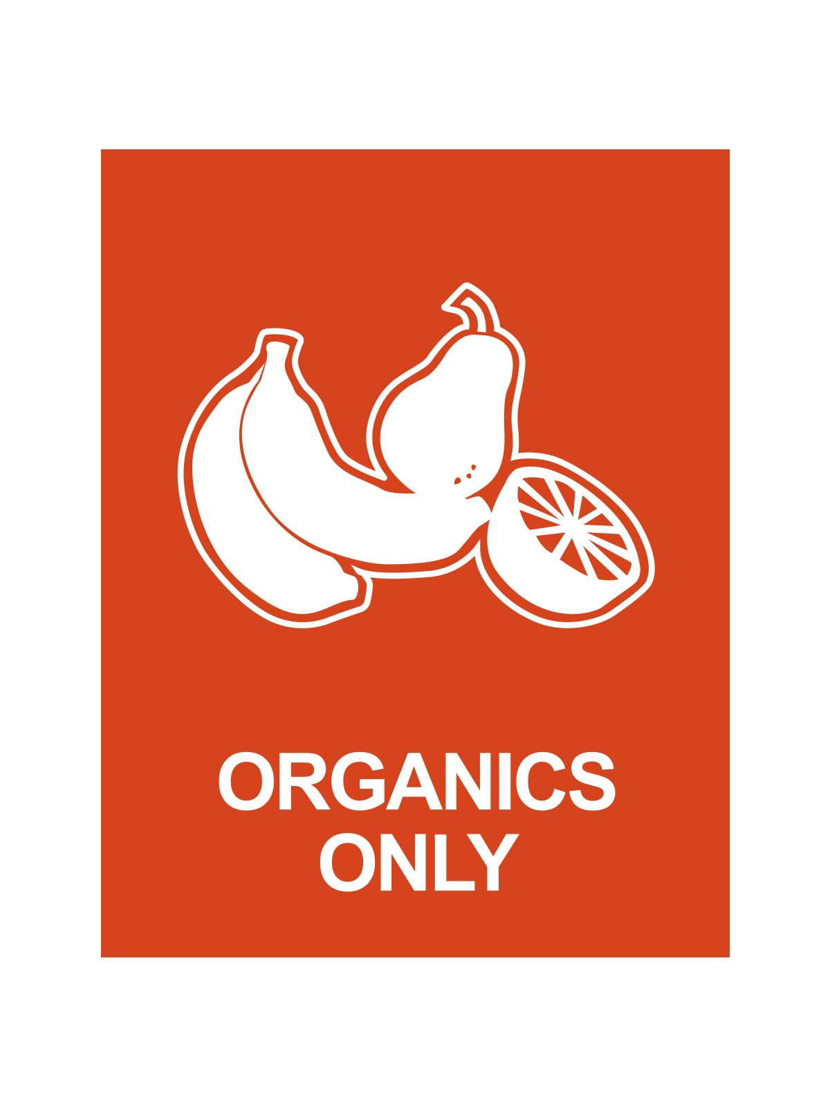 WASTE WATCHER® SIGN - ORGANICS ONLY W/FRUIT LOGOORANGE title=